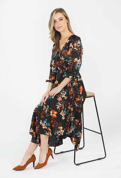 Pamela Scott BLACK & RED FLORAL PRINT DRESS