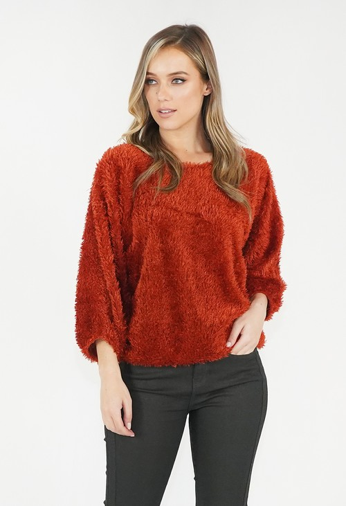 Zapara Burnt Orange Fluffy Top