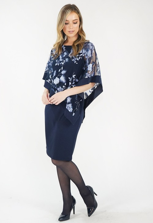 R and M Richard Navy Floral Cape Dress