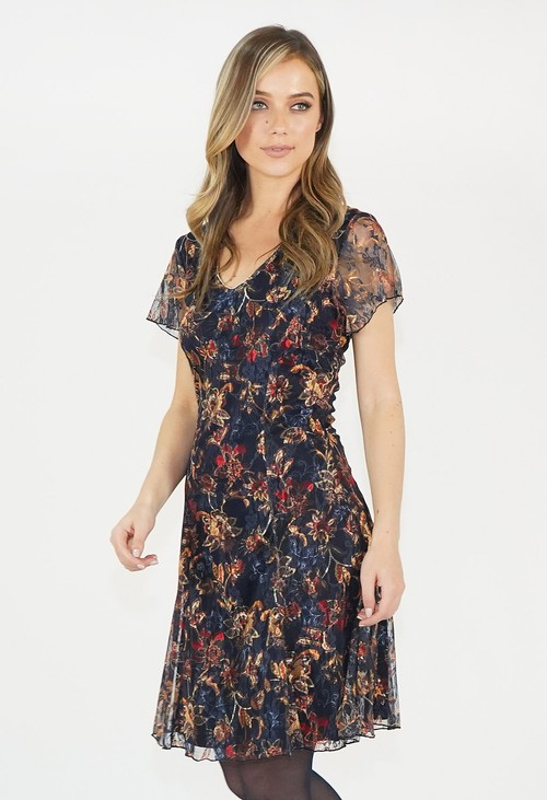 Zapara Navy Lace Sleeve Detail V Neck Dress