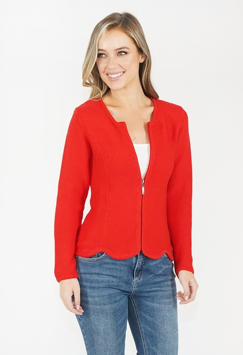 Twist Red Zip Knit