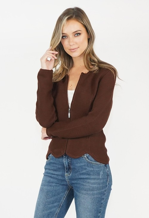 Twist Brown Zip Knit