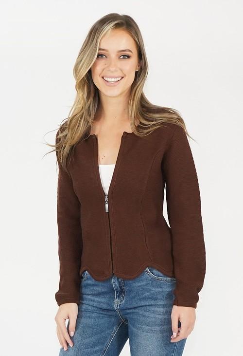 Twist Brown Zip Knit