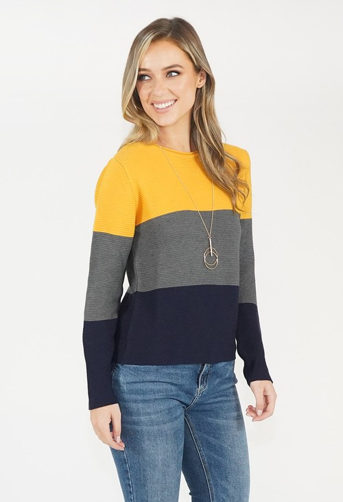 Twist Colour Block Knit Jumper