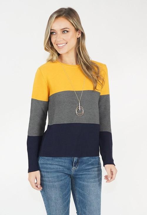 Twist Colour Block Knit Jumper