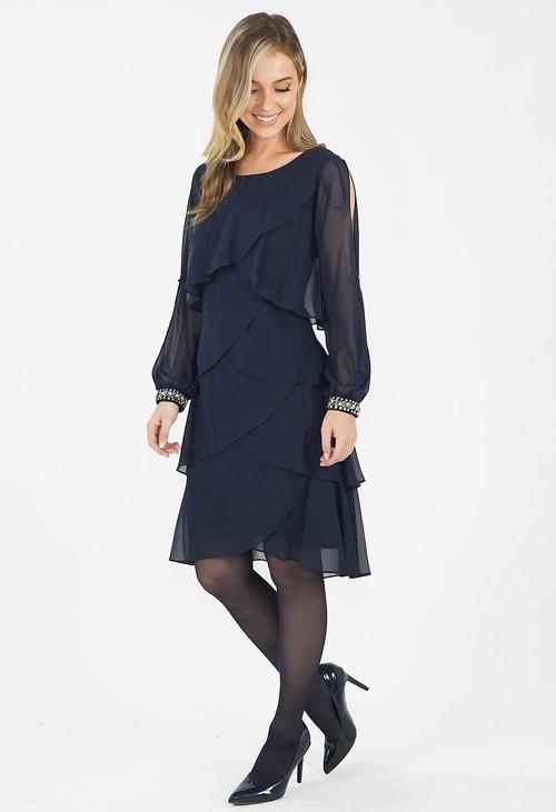 SL Fashions Navy Chiffon Sleeve Detail Dress