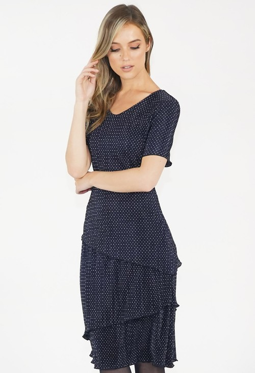 Zapara Navy Spot Midi Dress