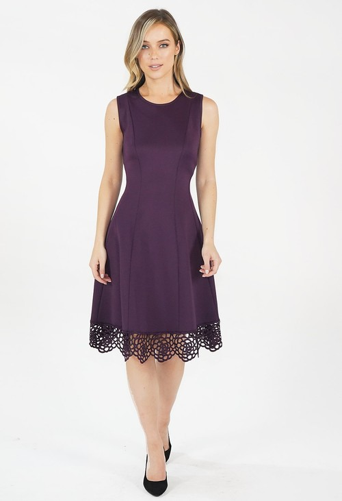 Donna Ricco Deep Purple Stretch Lace Hem Detail Dress
