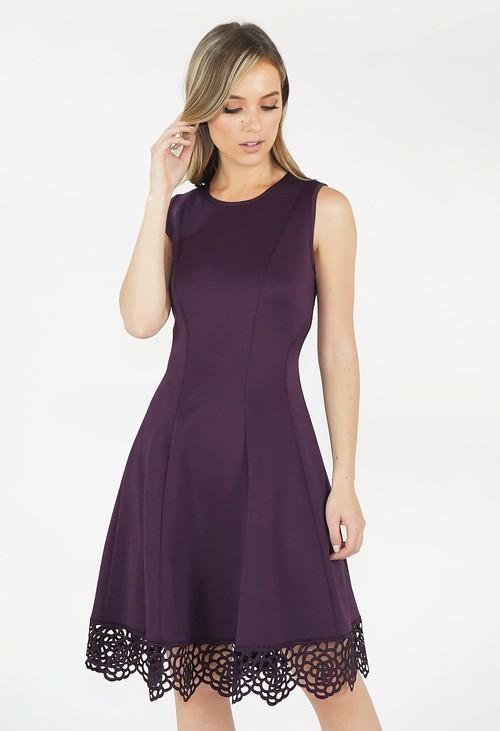 Donna Ricco Deep Purple Stretch Lace Hem Detail Dress