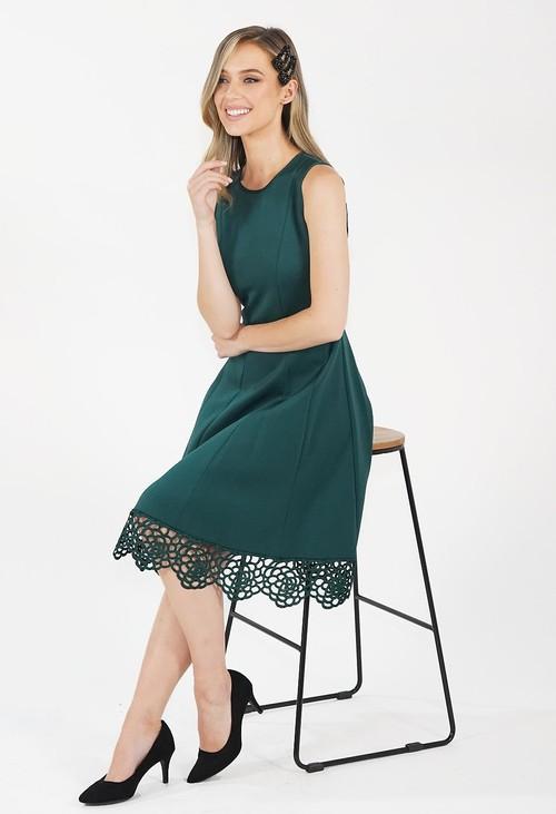 Donna Ricco Hunter Green Stretch Lace Hem Detail Dress