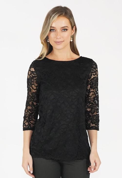 Zapara Black Lace Top