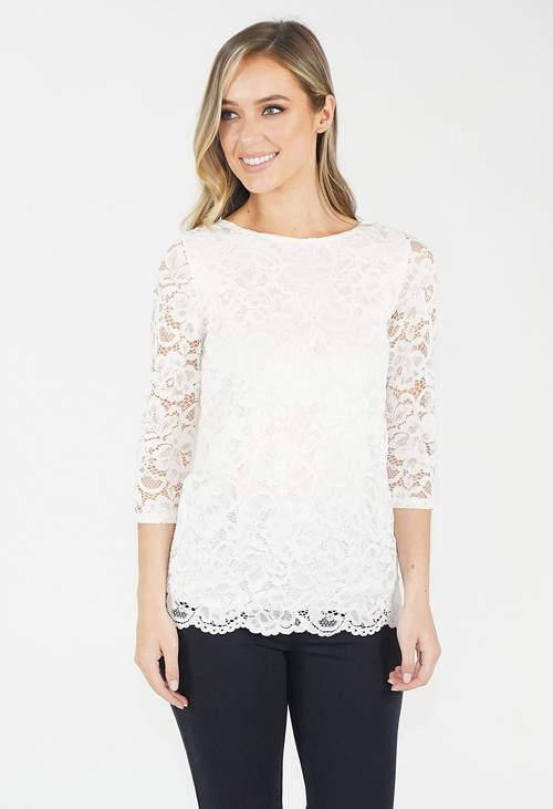 Zapara Off White Lace Top