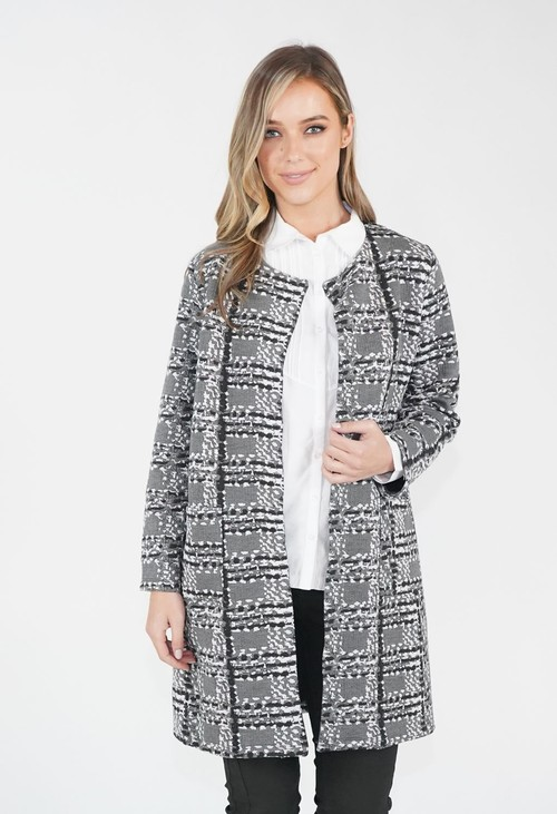 Sophie B Grey & Rose Geometric Pattern Jacket