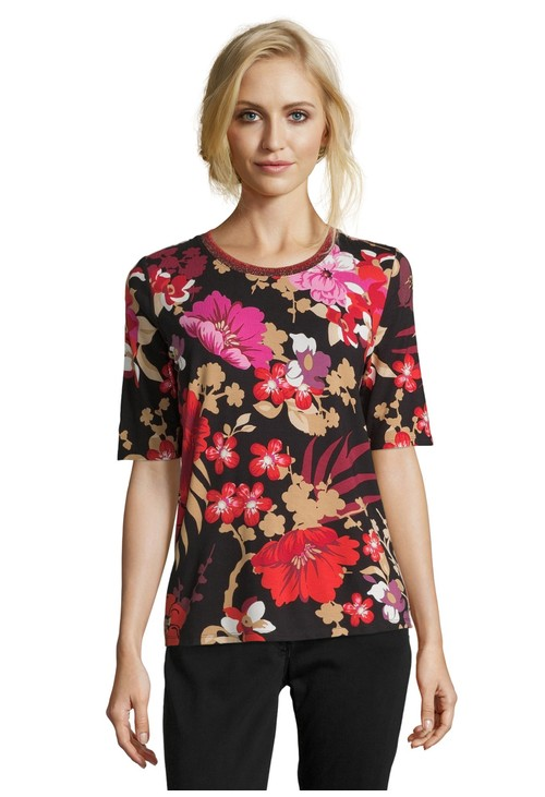 Betty Barclay Red & Black Printed Top