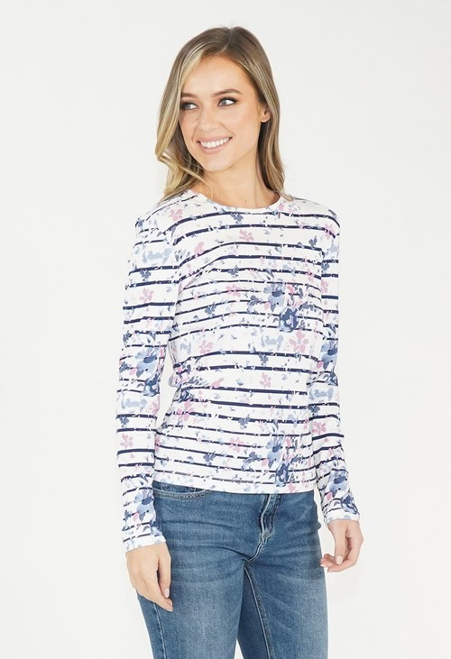 Twist Navy Striped Floral Top