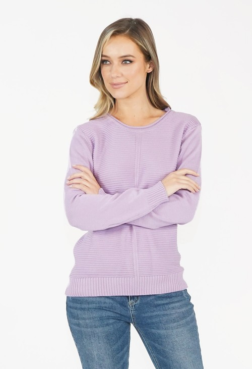 Twist Lavender Round Neck Knit