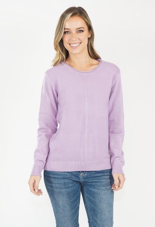 Twist Lavender Round Neck Knit