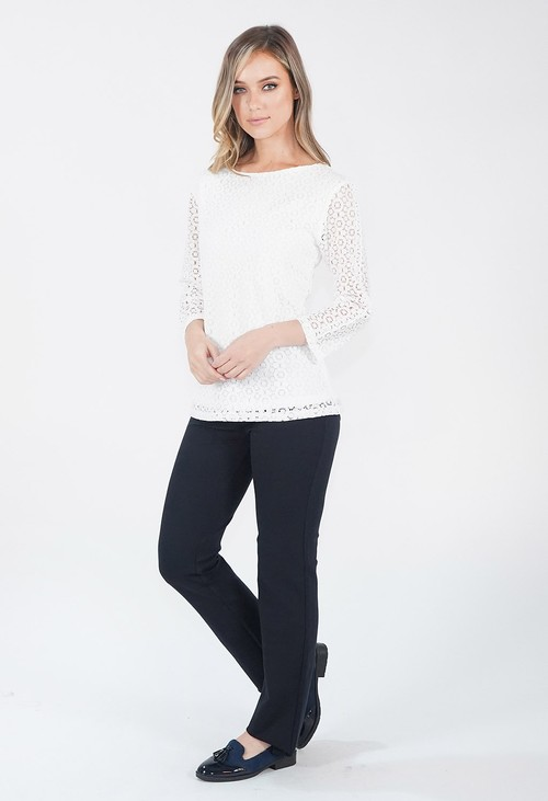 Zapara Off White Boat Neck Lace Top