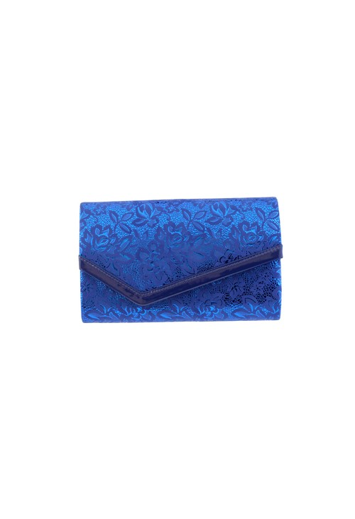 Barino Blue Metallic Clutch Bag