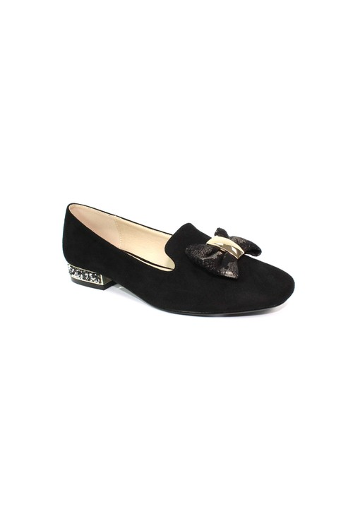 Lunar Black Flat Pump with Bow Detail