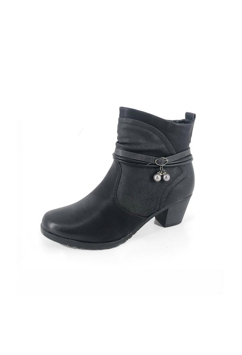 Pamela Scott Black Block Heel Ankle Boots with Straps