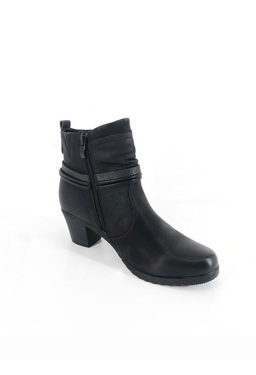 Pamela Scott Black Block Heel Ankle Boots with Straps