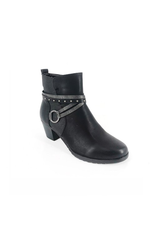 Pamela Scott Black Block Heel Boot with Ring Detail