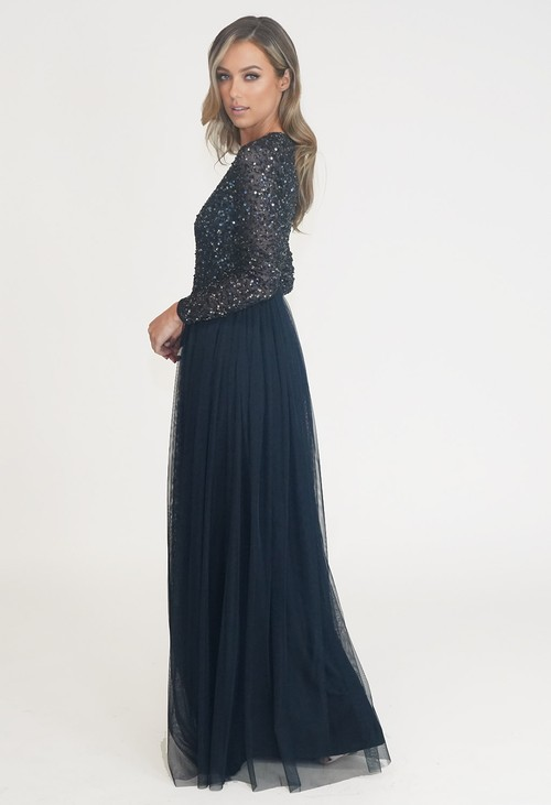 Maya Navy Long Sleeve Tulle and Sequin Dress