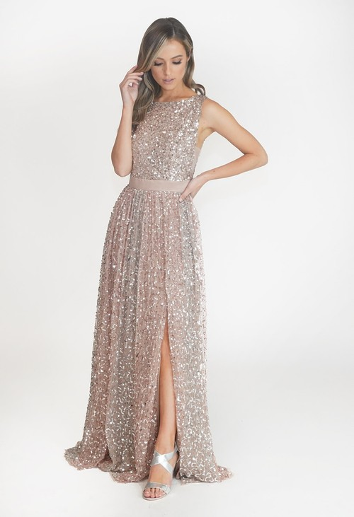 Maya Blush Full Length Sequin Dress with Leg Slit