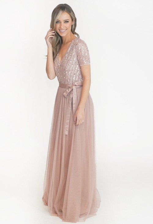 Maya Blush V Neck Sequin and Tulle Dress with Tie Waist