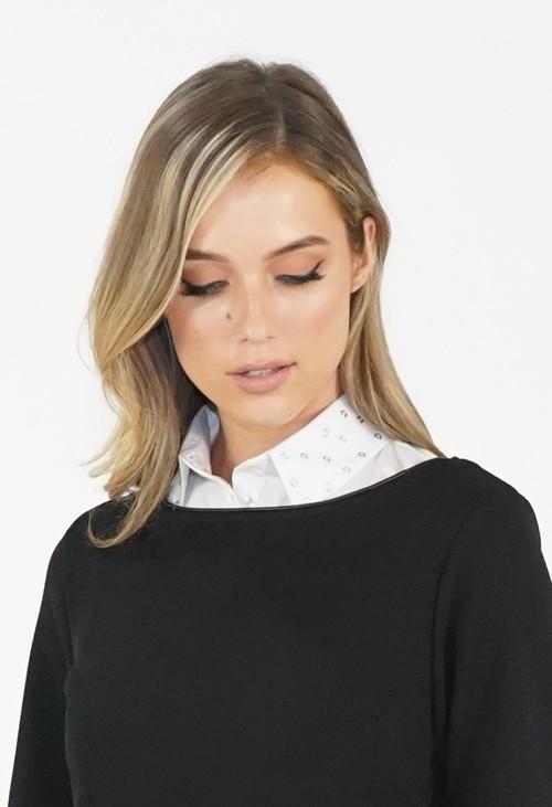 Twist White Studded Collar Bib