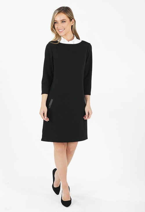 Zapara Black Boat Neck Dress with Pockets