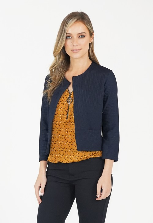 Zapara Navy Cropped Jacket