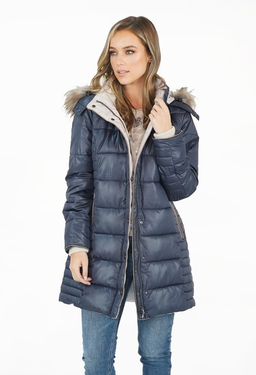 Twist Marine Quilt Finish Faux Fur Hood Winter Coat