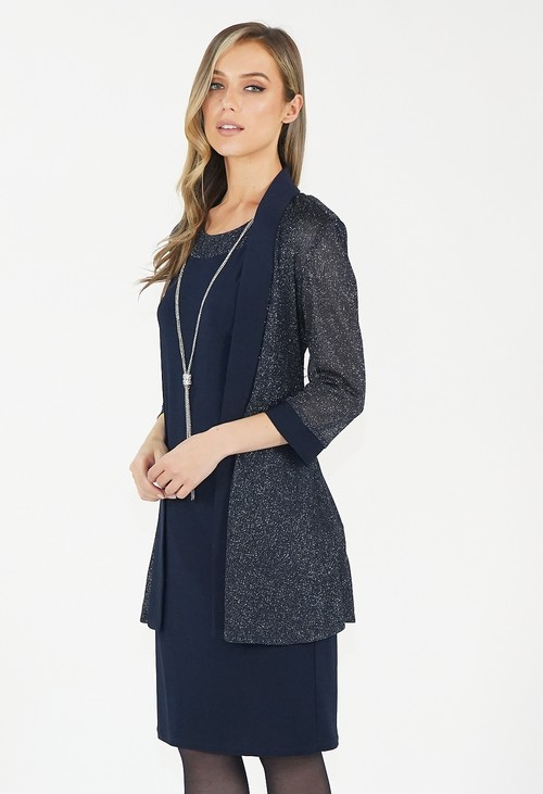 R and M Richard Navy Sequin Detail Two Piece Set
