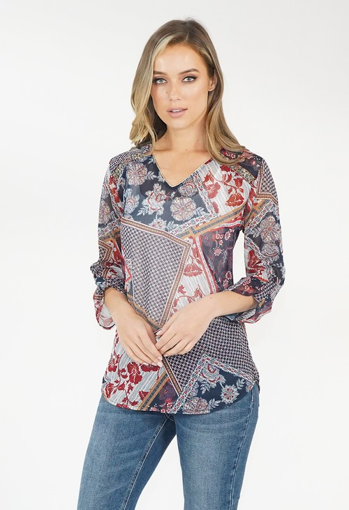 Sophie B Red/Blue Floral Pattern V Neck Top