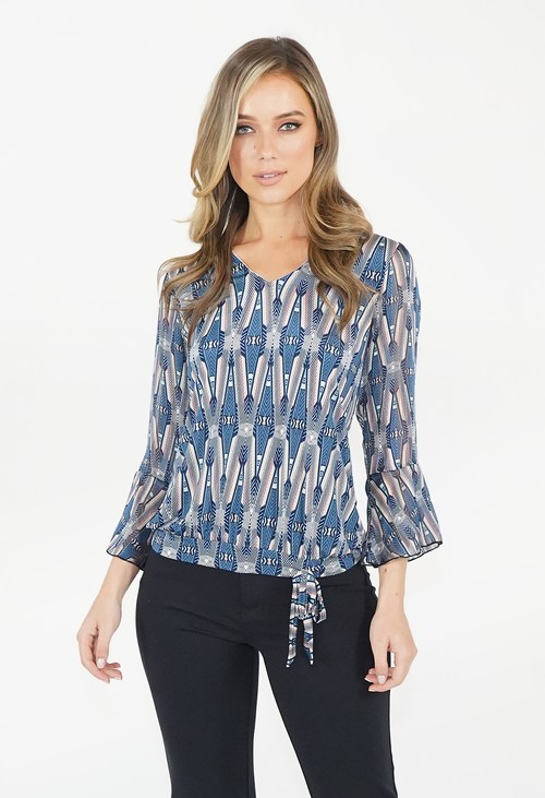 Sophie B Blue Pattern Tie Detail Top