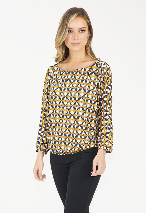 Zapara Mustard Oversized Boat Neck Top