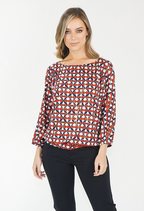 Zapara Red Oversized Boat Neck Top