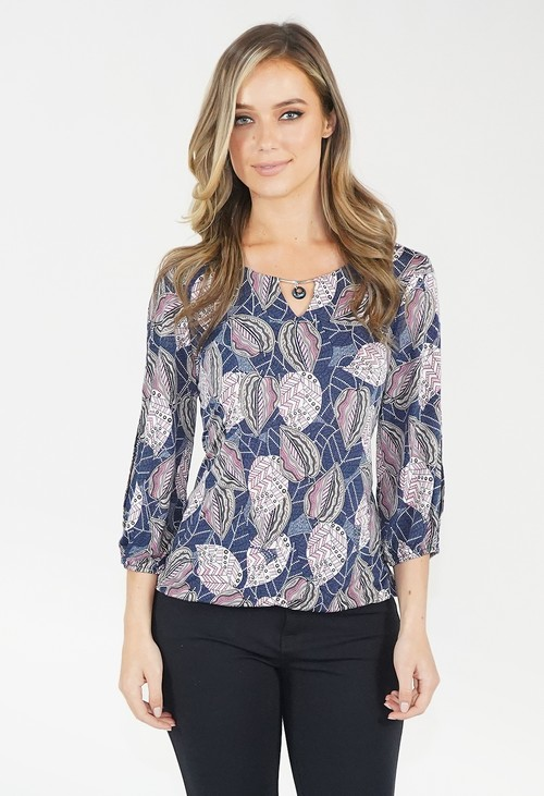 Twist Pink/Navy Leaf Print Top