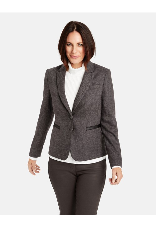Gerry Weber Ecru & Black Herringbone Pattern Jacket