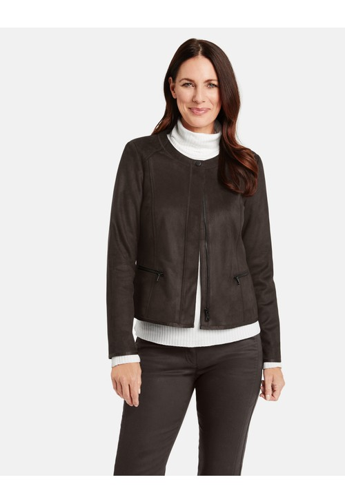 Gerry Weber Dark Brown Suede Biker Style Jacket