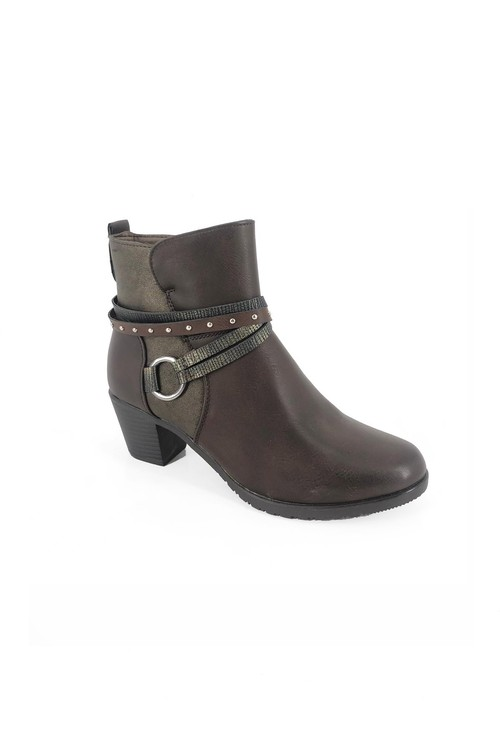 Pamela Scott Brown Block Heel Ankle Boot with Ring Detail