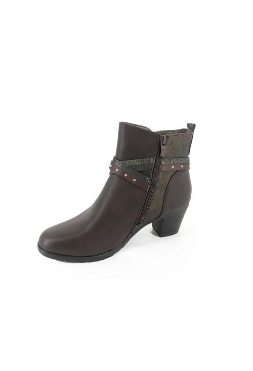 Pamela Scott Brown Block Heel Ankle Boot with Ring Detail