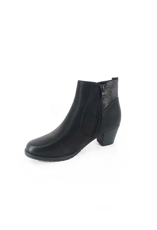 Pamela Scott Black Block Heel Boot with Contrasting Side Panel