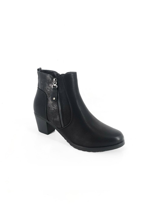 Pamela Scott Black Block Heel Boot with Contrasting Side Panel