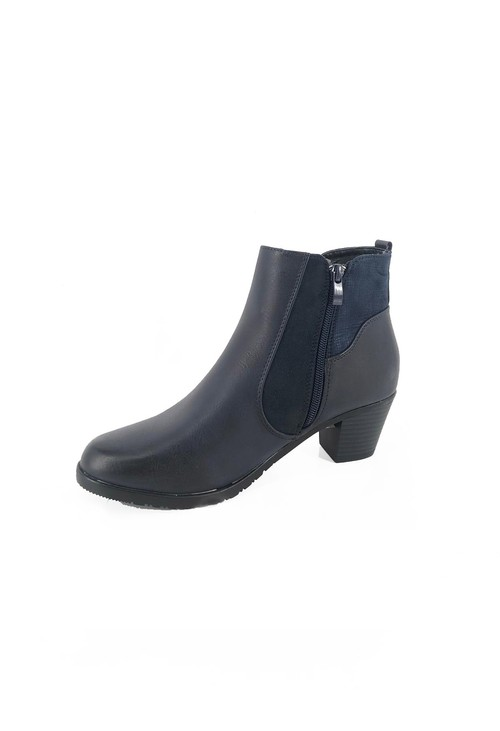Pamela Scott Navy Block Heel Boot with Contrasting Side Panel