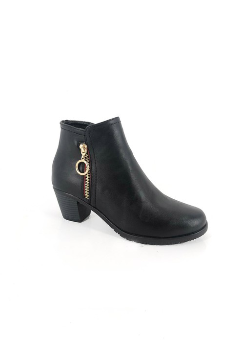 Pamela Scott Black Block Heel Ankle Boot with Gold Zip