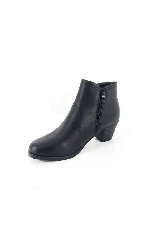 Pamela Scott Black Block Heel Ankle Boot with Gold Zip