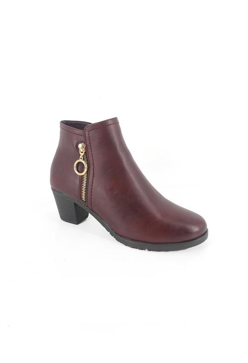 Pamela Scott Bordeaux Block Heel Ankle Boot with Gold Zip